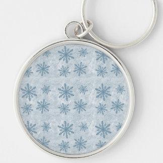 Copos de nieve 1 - Azul - Llavero Redondo Plateado
