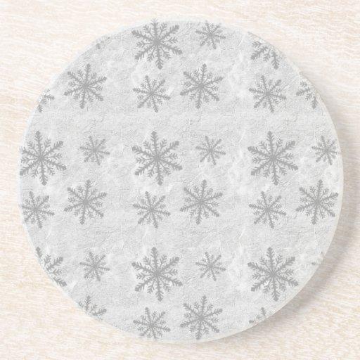 Copos de nieve 1 - B&W gris Posavasos Para Bebidas
