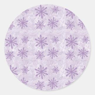 Copos de nieve 1 - Púrpura Pegatina Redonda
