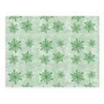 Copos de nieve 1 verde - tarjeta postal