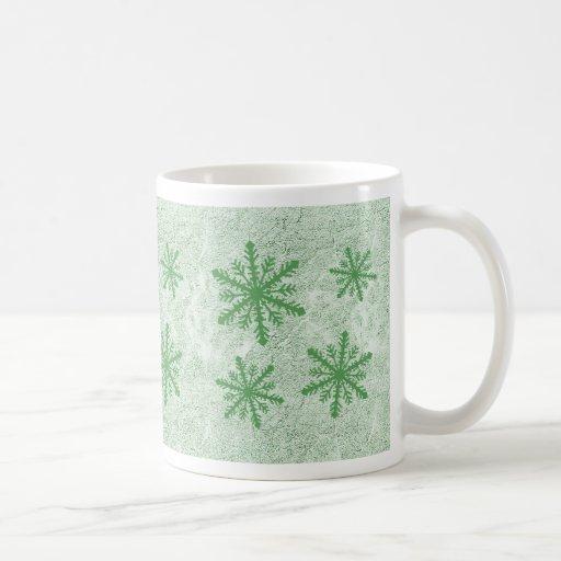 Copos de nieve 1 verde - taza de café
