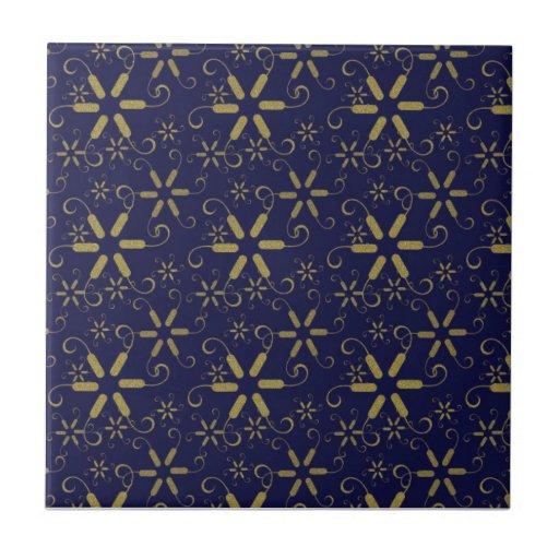Copos de nieve abstractos del oro - grandes regalo azulejo ceramica