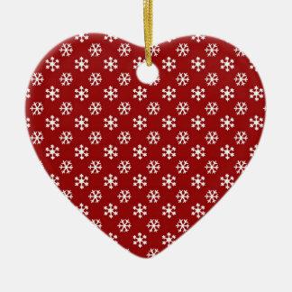 Copos de nieve adorno navideño de cerámica en forma de corazón