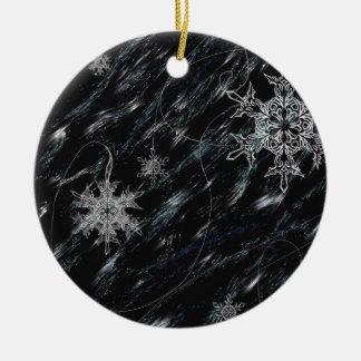 Copos de nieve adorno navideño redondo de cerámica