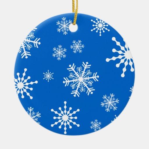 Copos de nieve adorno redondo de cerámica