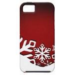 Copos de nieve alegres del navidad del acebo rojos iPhone 5 coberturas