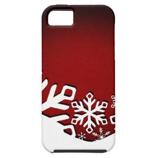 Copos de nieve alegres del navidad del acebo rojos iPhone 5 funda