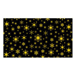 Copos de nieve - amarillo de oro en negro tarjeta de visita