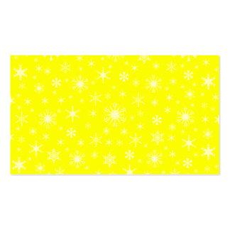 Copos de nieve - amarillos claros en amarillo plantilla de tarjeta de negocio