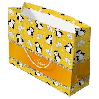 Copos de nieve amarillos conocidos de encargo de bolsa de regalo grande
