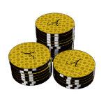 Copos de nieve amarillos de las estrellas del juego de fichas de póquer