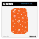 Copos de nieve anaranjados y blancos skins para eliPhone 3G