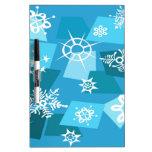 Copos de nieve artsy azules del invierno tablero blanco