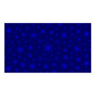 Copos de nieve - azul en azul marino tarjeta personal