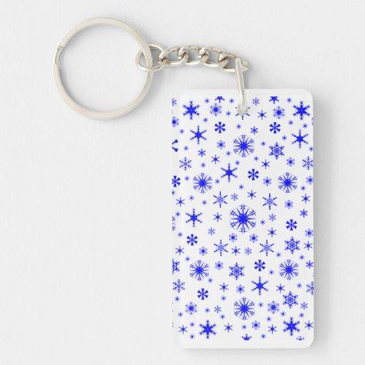 Copos de nieve - azul en blanco llavero