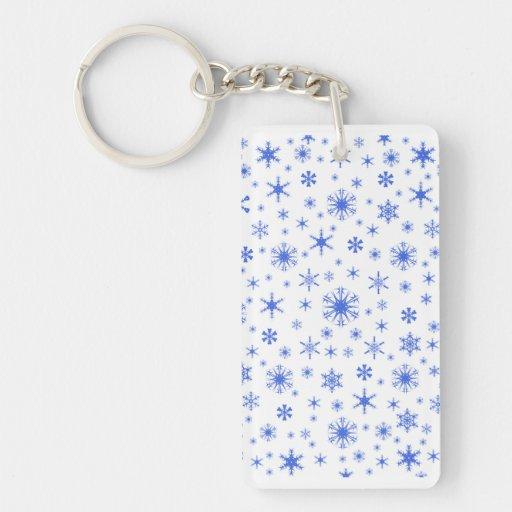 Copos de nieve - azul real en blanco llavero