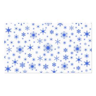 Copos de nieve - azul real en blanco tarjeta de visita