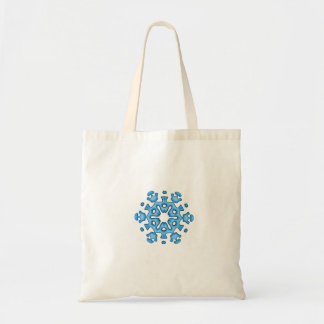 Copos de nieve azules bonitos de la tonalidad bolsa