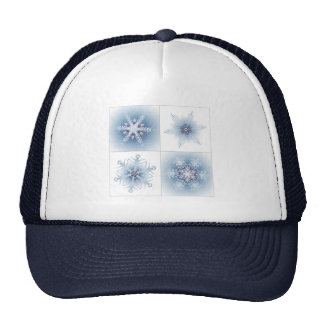 Copos de nieve azules brillantes gorras