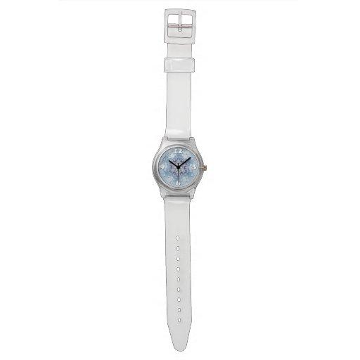 Copos de nieve azules brillantes relojes de mano