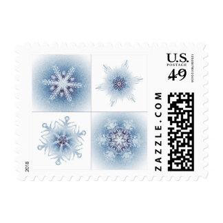 Copos de nieve azules brillantes sellos