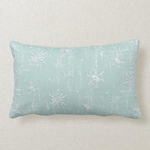 Copos de nieve azules claros cojín