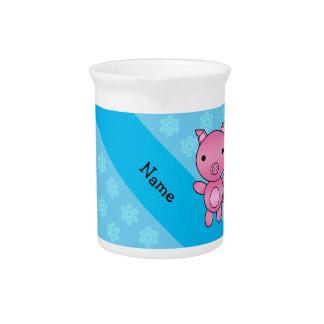 Copos de nieve azules claros del cerdo conocido de jarras