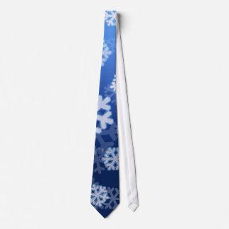 Copos de nieve azules corbatas personalizadas