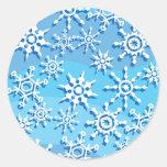 Copos de nieve azules de la onda etiquetas