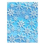 Copos de nieve azules de la onda tarjetas postales