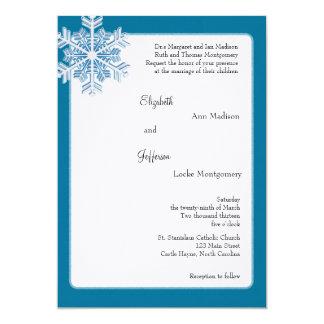 """Copos de nieve azules del cristal de hielo que invitación 5"""" x 7"""""""