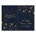copos de nieve azules del oro que casan los tarjeta publicitaria