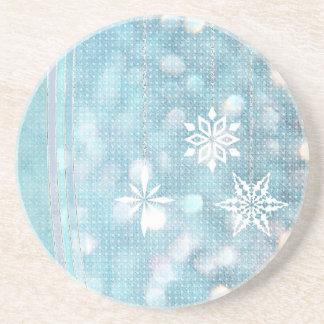 Copos de nieve azules en colores pastel posavasos para bebidas