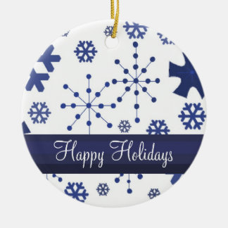 Copos de nieve azules escarchados adorno redondo de cerámica