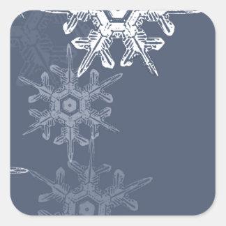 Copos de nieve azules/grises sofisticados pegatina cuadrada