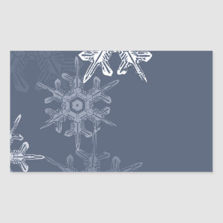 Copos de nieve azules/grises sofisticados pegatina rectangular