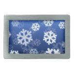 Copos de nieve azules hebillas cinturón rectangulares