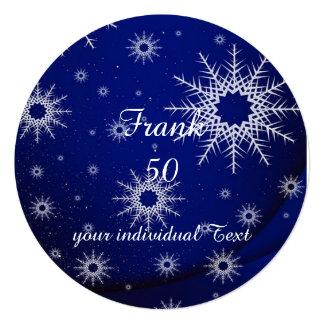 """copos de nieve azules invitación 5.25"""" x 5.25"""""""