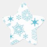 copos de nieve azules calcomanía forma de estrellae