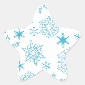 copos de nieve azules calcomanía forma de estrella personalizadas