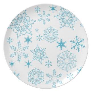 copos de nieve azules plato de comida