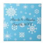 Copos de nieve azules que casan favores tejas  cerámicas