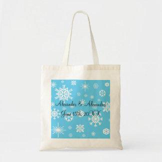 Copos de nieve azules que casan favores bolsa