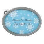 Copos de nieve azules que casan favores hebillas cinturon ovales