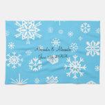 Copos de nieve azules que casan favores toalla de mano