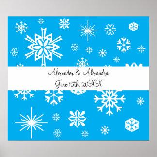 Copos de nieve azules que casan favores póster
