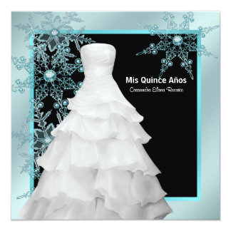 Copos de nieve azules Quinceanera del invierno del Invitación 13,3 Cm X 13,3cm