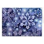 Copos de nieve azules tarjeta de felicitación