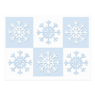 Copos de nieve azules postal