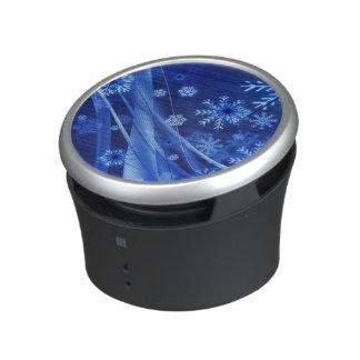 Copos de nieve azules ventosos del navidad altavoz bluetooth